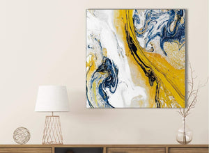Mustard Yellow and Blue Swirl Bathroom Canvas Wall Art Accessories - Abstract 1s469s - 49cm Square Print