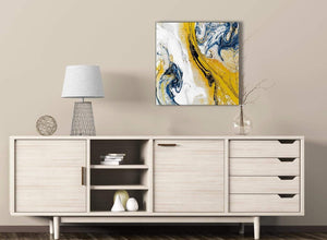 Mustard Yellow and Blue Swirl Kitchen Canvas Pictures Decorations - Abstract 1s469m - 64cm Square Print
