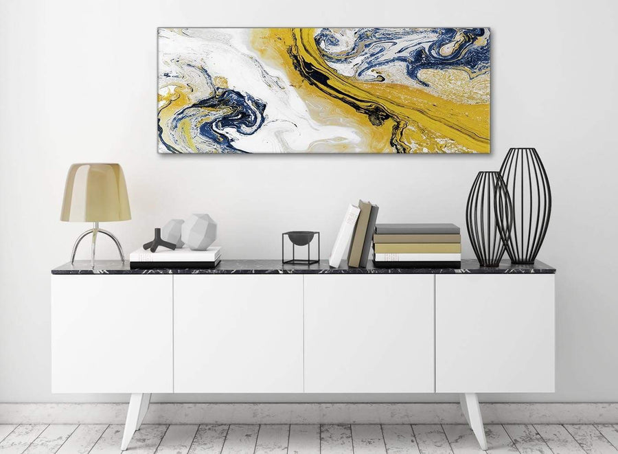 Mustard Yellow and Blue Swirl Living Room Canvas Wall Art Accessories - Abstract 1469 - 120cm Print
