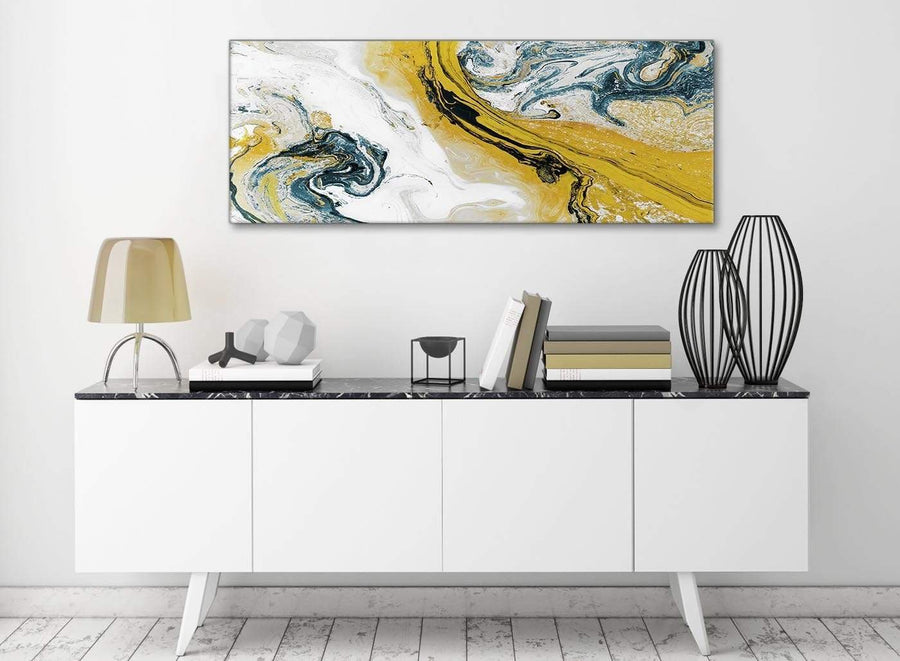 Mustard Yellow and Teal Swirl Bedroom Canvas Wall Art Accessories - Abstract 1470 - 120cm Print