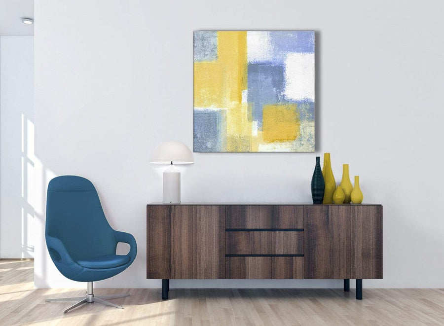 Mustard Yellow Blue Abstract Office Canvas Pictures Decor 1s371l - 79cm Square Print