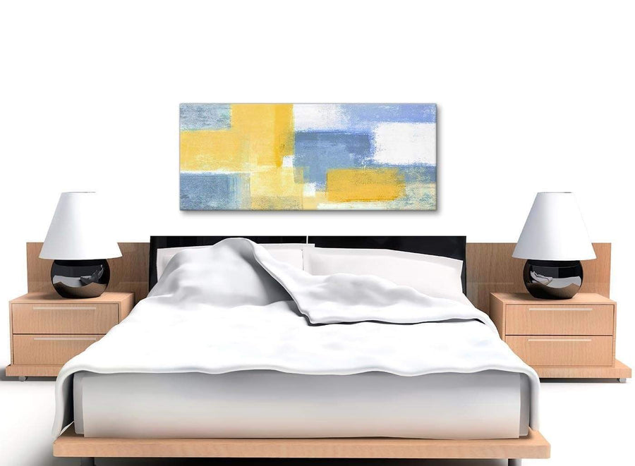 Mustard Yellow Blue Living Room Canvas Pictures Accessories - Abstract 1371 - 120cm Print