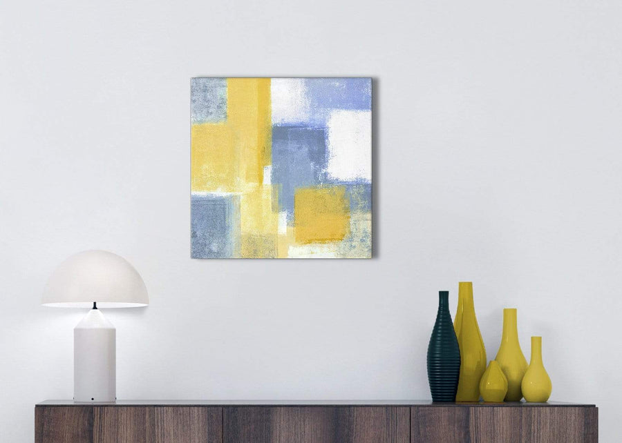 Mustard Yellow Blue Kitchen Canvas Pictures Accessories - Abstract 1s371s - 49cm Square Print
