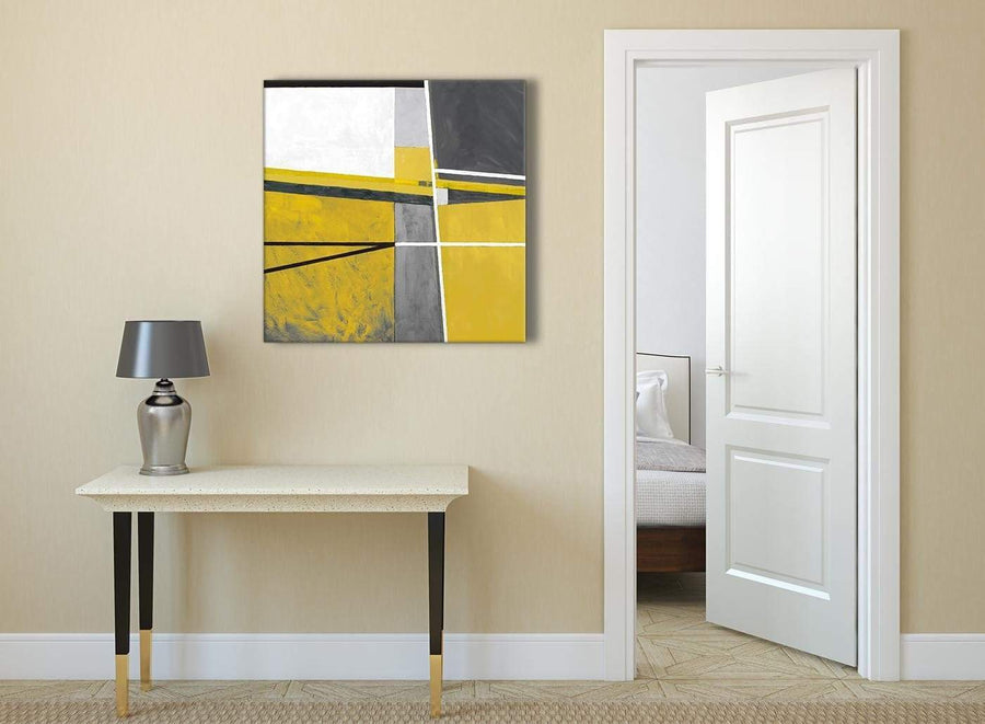 Mustard Yellow Grey Painting Abstract Hallway Canvas Pictures Decorations 1s388l - 79cm Square Print