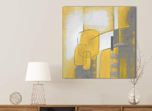 Mustard Yellow Grey Painting Bathroom Canvas Pictures Accessories - Abstract 1s419s - 49cm Square Print