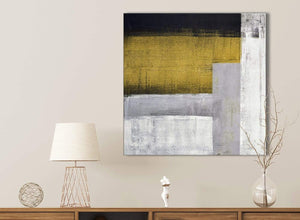 Mustard Yellow Grey Painting Bathroom Canvas Wall Art Accessories - Abstract 1s425s - 49cm Square Print