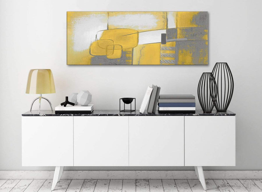 Mustard Yellow Grey Painting Bedroom Canvas Pictures Accessories - Abstract 1419 - 120cm Print