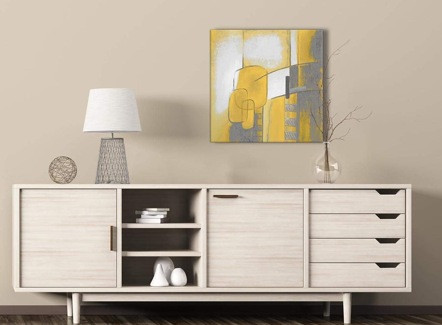Mustard Yellow Grey Painting Hallway Canvas Pictures Decorations - Abstract 1s419m - 64cm Square Print