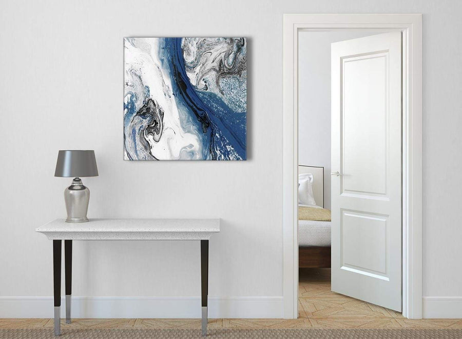 Blue and Grey Swirl Abstract Office Canvas Wall Art Decor 1s465l - 79cm Square Print