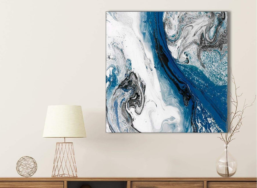 Blue and Grey Swirl Bathroom Canvas Pictures Accessories - Abstract 1s465s - 49cm Square Print