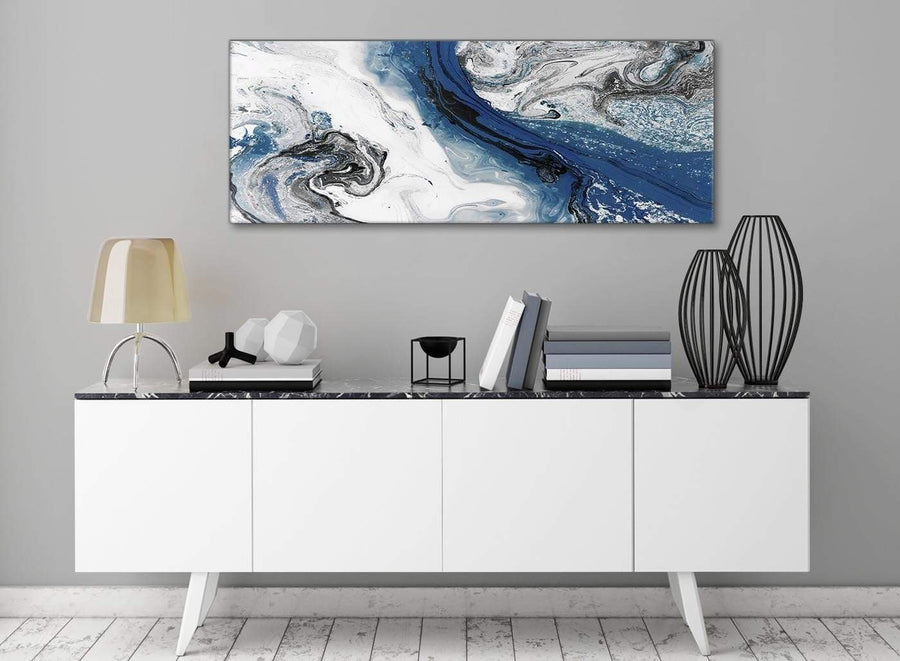 Blue and Grey Swirl Living Room Canvas Wall Art Accessories - Abstract 1465 - 120cm Print