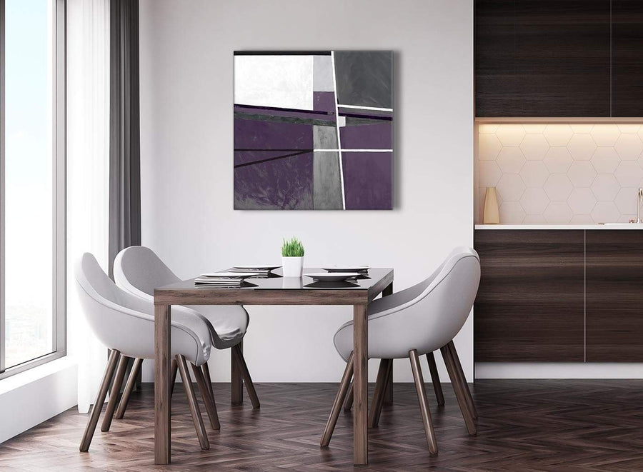 Next Aubergine Grey Painting Abstract Living Room Canvas Pictures Decor 1s392l - 79cm Square Print