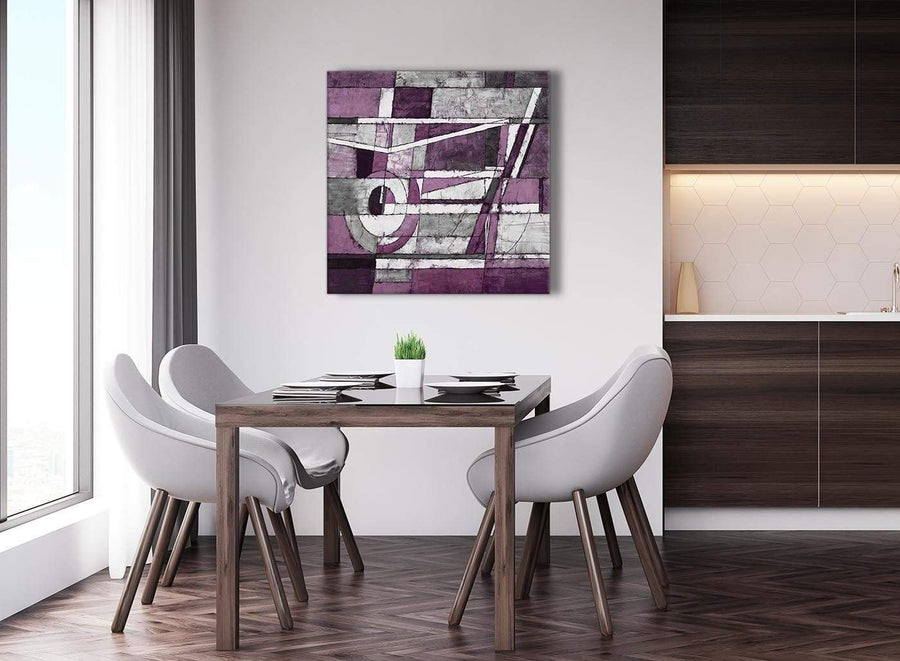 Next Aubergine Grey White Painting Abstract Dining Room Canvas Pictures Decorations 1s406l - 79cm Square Print