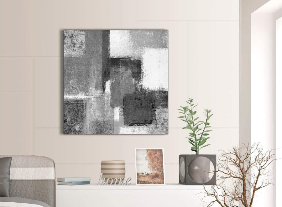 Next Black White Grey Abstract Hallway Canvas Wall Art Decorations 1s368l - 79cm Square Print