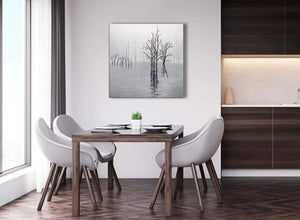 Next Black White Grey Tree Landscape Painting Dining Room Canvas Pictures Decorations 1s416l - 79cm Square Print