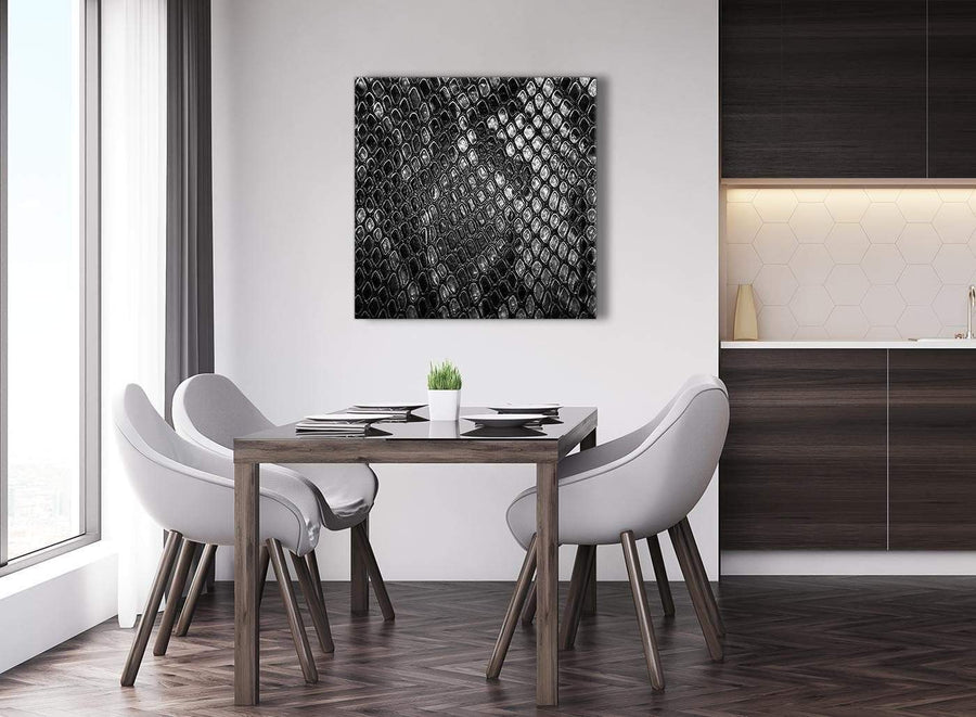 Next Black White Snakeskin Animal Print Abstract Living Room Canvas Wall Art Decorations 1s510l - 79cm Square Print