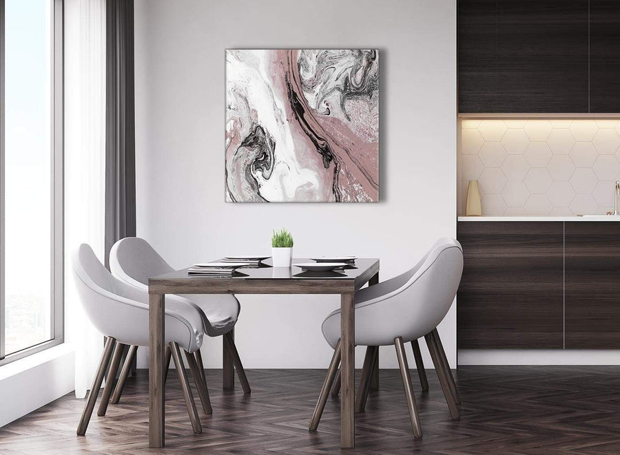 Next Blush Pink and Grey Swirl Abstract Office Canvas Pictures Decorations 1s463l - 79cm Square Print