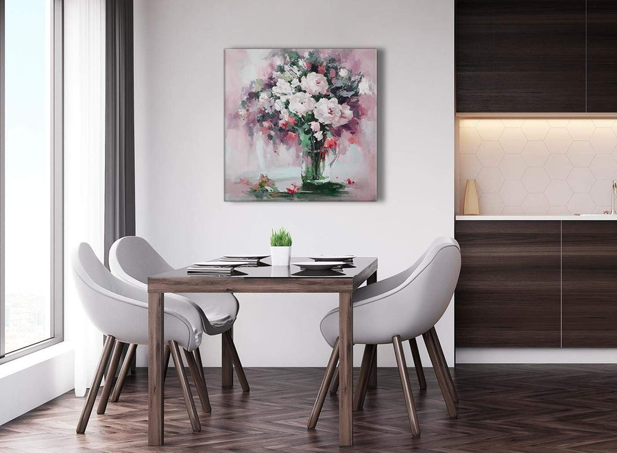 Next Blush Pink Flowers Painting Abstract Hallway Canvas Pictures Decor 1s441l - 79cm Square Print
