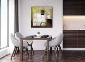 Next Brown Green Painting Abstract Dining Room Canvas Pictures Decor 1s421l - 79cm Square Print