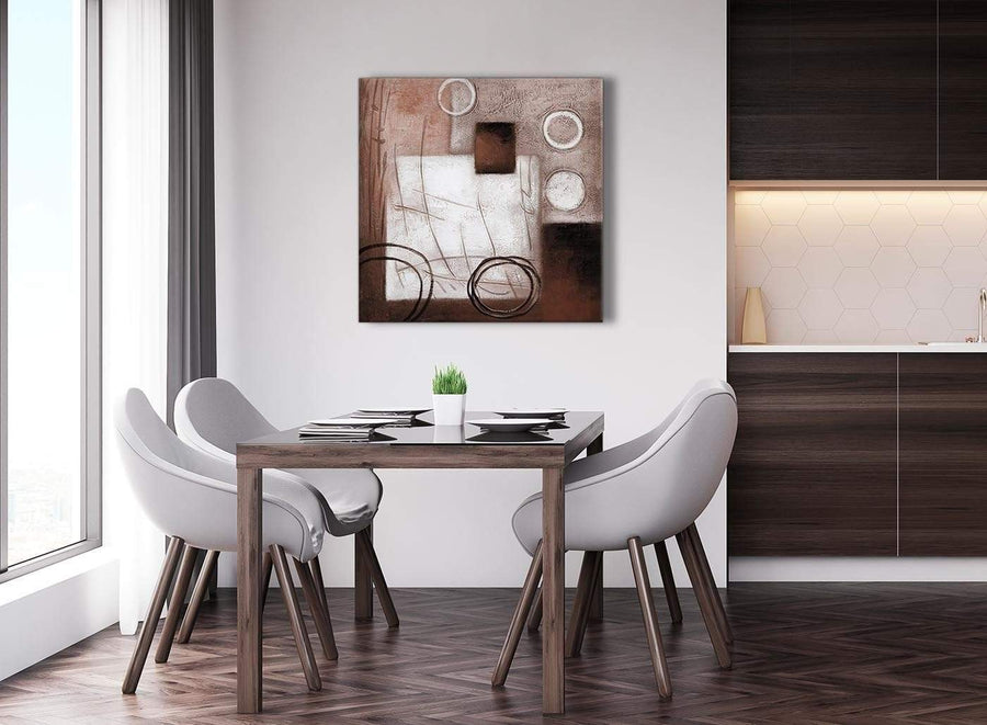 Next Brown White Painting Abstract Dining Room Canvas Wall Art Accessories 1s422l - 79cm Square Print