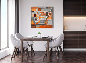 Next Burnt Orange Grey Painting Abstract Bedroom Canvas Wall Art Decorations 1s405l - 79cm Square Print