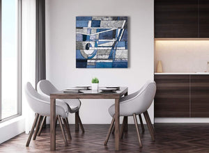 Next Indigo Blue White Painting Abstract Dining Room Canvas Pictures Accessories 1s404l - 79cm Square Print