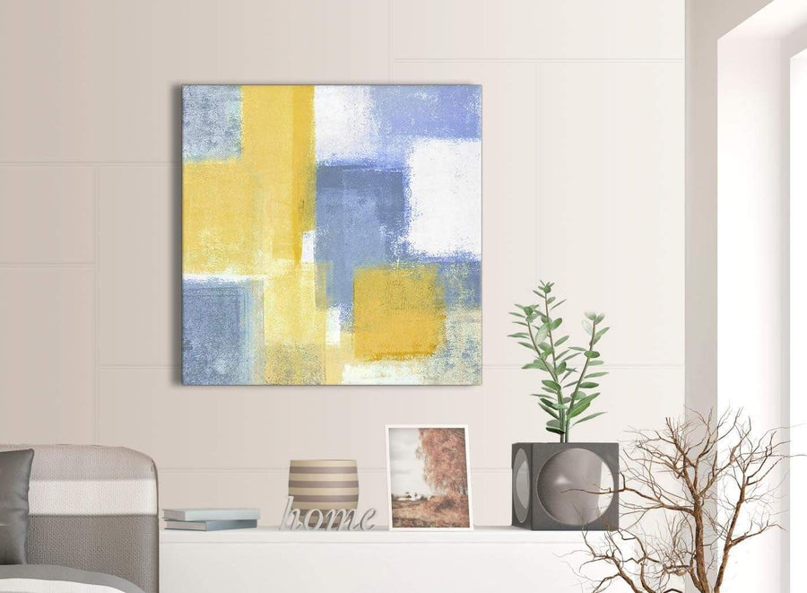 Next Mustard Yellow Blue Abstract Office Canvas Pictures Decor 1s371l - 79cm Square Print