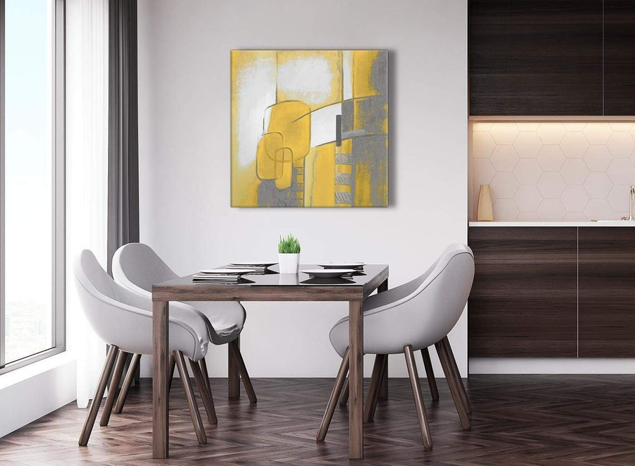 Next Mustard Yellow Grey Painting Abstract Bedroom Canvas Pictures Decorations 1s419l - 79cm Square Print