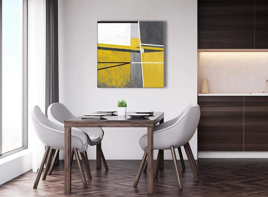 Next Mustard Yellow Grey Painting Abstract Hallway Canvas Pictures Decorations 1s388l - 79cm Square Print