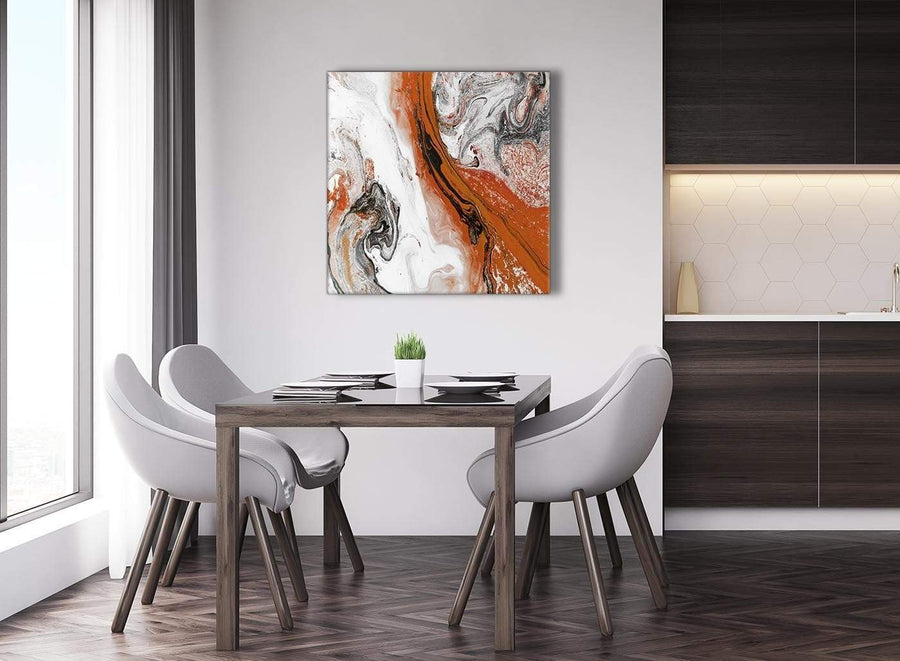 Next Orange and Grey Swirl Abstract Bedroom Canvas Pictures Decor 1s461l - 79cm Square Print