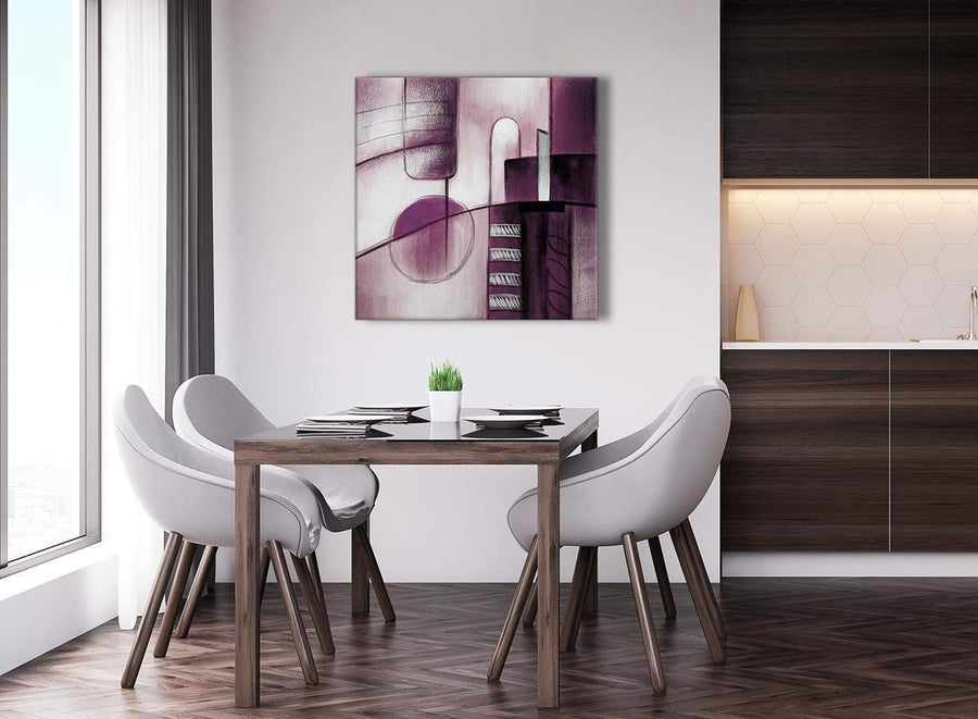 Next Plum Grey Painting Abstract Office Canvas Pictures Accessories 1s420l - 79cm Square Print