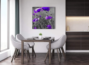 Next Purple Poppy Grey Black White Flower Floral Abstract Office Canvas Wall Art Decorations 1s136l - 79cm Square Print