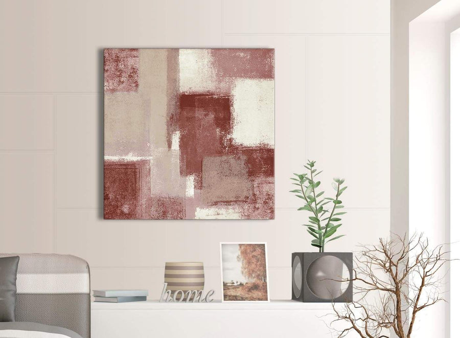 Next Red and Cream Abstract Bedroom Canvas Pictures Decorations 1s370l - 79cm Square Print