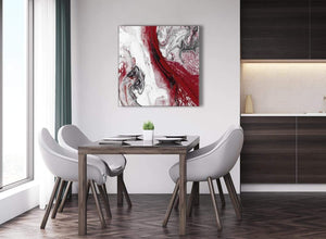 Next Red and Grey Swirl Abstract Living Room Canvas Pictures Decorations 1s467l - 79cm Square Print