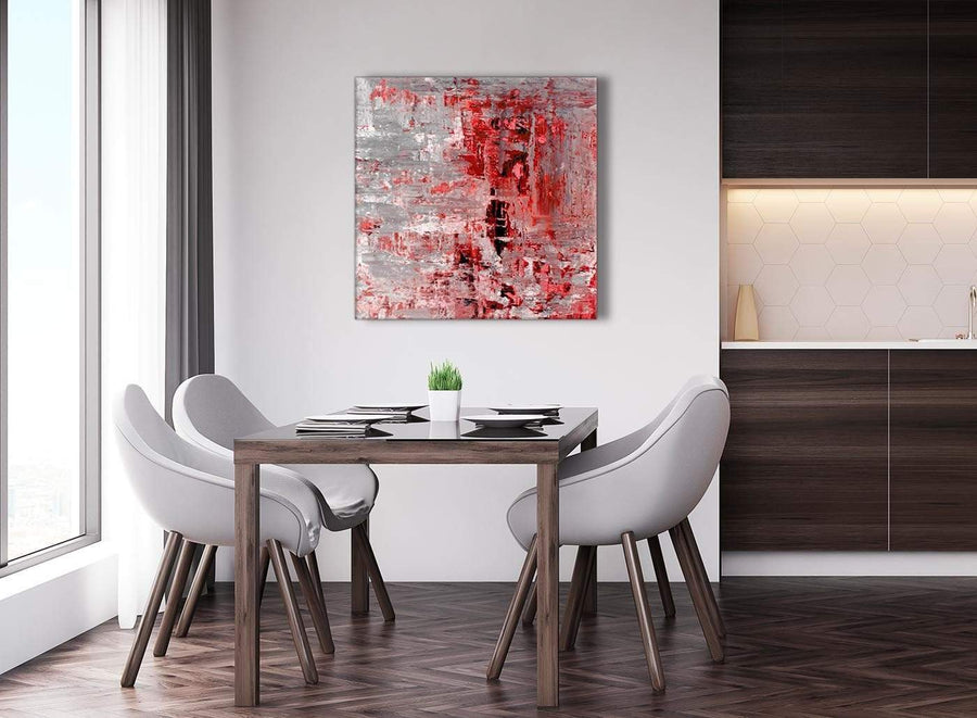 Next Red Grey Painting Abstract Hallway Canvas Wall Art Accessories 1s414l - 79cm Square Print