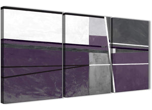 Next Set of 3 Piece Aubergine Grey Painting Hallway Canvas Pictures Decor - Abstract 3392 - 126cm Set of Prints