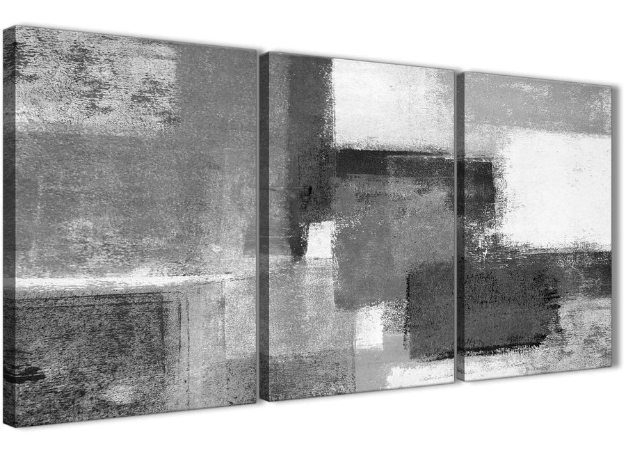 Next Set of 3 Panel Black White Grey Office Canvas Pictures Decor - Abstract 3368 - 126cm Set of Prints