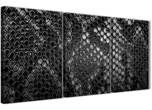 Next Set of 3 Piece Black White Snakeskin Animal Print Office Canvas Wall Art Accessories - Abstract 3510 - 126cm Set of Prints