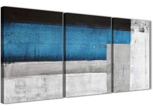 Next Set of 3 Piece Blue Grey Painting Dining Room Canvas Pictures Decor - Abstract 3423 - 126cm Set of Prints