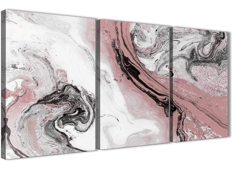 Next Set of 3 Panel Blush Pink and Grey Swirl Kitchen Canvas Pictures Accessories - Abstract 3463 - 126cm Set of Prints