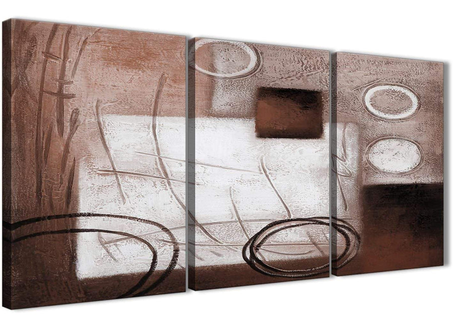 Next Set of 3 Piece Brown White Painting Kitchen Canvas Wall Art Accessories - Abstract 3422 - 126cm Set of Prints