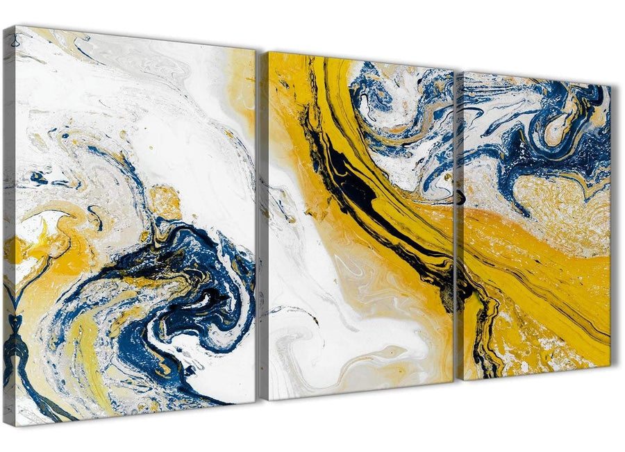 Next Set of 3 Piece Mustard Yellow and Blue Swirl Living Room Canvas Wall Art Accessories - Abstract 3469 - 126cm Set of Prints