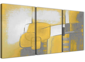 Next Set of 3 Piece Mustard Yellow Grey Painting Kitchen Canvas Pictures Decor - Abstract 3419 - 126cm Set of Prints