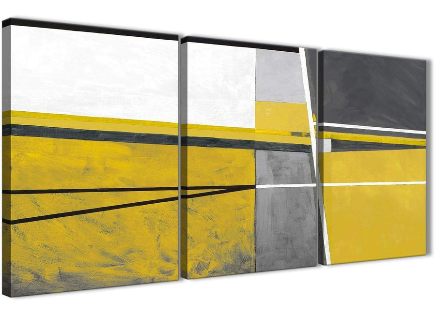 Next Set of 3 Panel Mustard Yellow Grey Painting Living Room Canvas Wall Art Decor - Abstract 3388 - 126cm Set of Prints