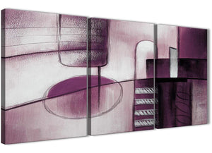 Next Set of 3 Piece Plum Grey Painting Kitchen Canvas Wall Art Accessories - Abstract 3420 - 126cm Set of Prints