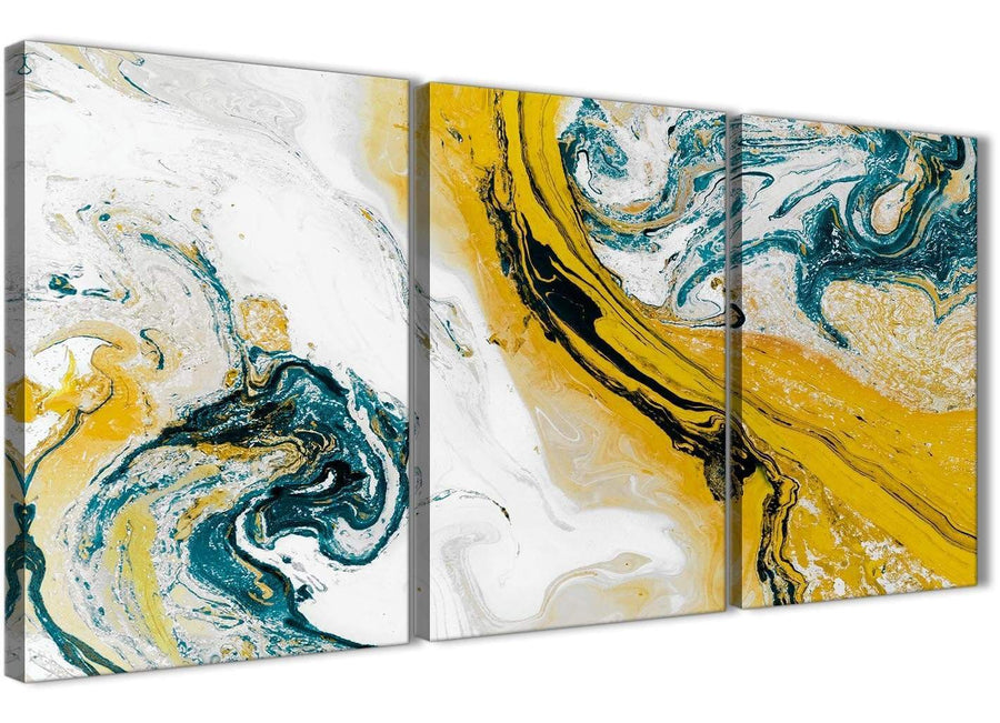 Next Set of 3 Piece Mustard Yellow and Teal Swirl Dining Room Canvas Wall Art Accessories - Abstract 3470 - 126cm Set of Prints