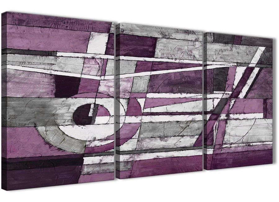 Next Set of 3 Panel Aubergine Grey White Painting Kitchen Canvas Wall Art Decor - Abstract 3406 - 126cm Set of Prints