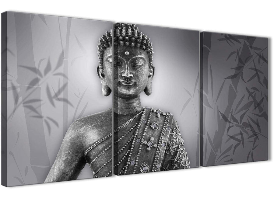 Next Set of 3 Panel Black White Buddha Kitchen Canvas Wall Art Accessories - 3373 - 126cm Set of Prints