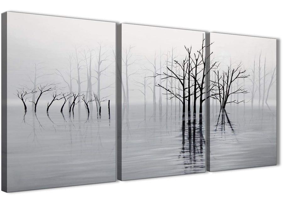 Next Set of 3 Piece Black White Grey Tree Landscape Painting Bedroom Canvas Pictures Decor - 3416 - 126cm Set of Prints