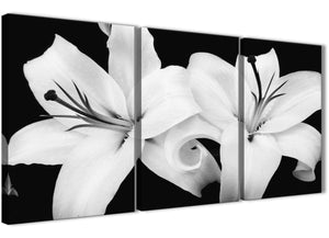 Next Set of 3 Panel Black White Lily Flower Kitchen Canvas Pictures Accessories - 3458 - 126cm Set of Prints
